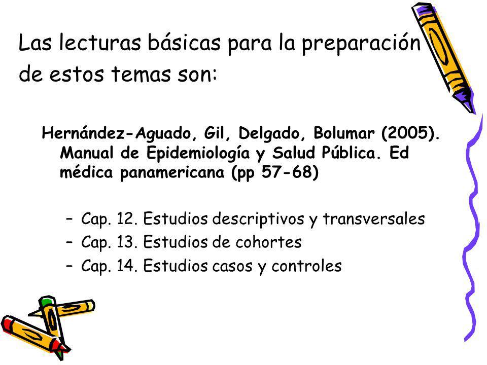 Las lecturas básicas para la preparación de estos temas son: Hernández-Aguado, Gil, Delgado, Bolumar (2005). Manual de Epidemiología y Salud Pública.