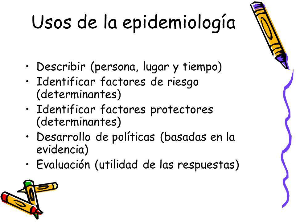 Usos de la epidemiología Describir (persona, lugar y tiempo) Identificar factores de riesgo (determinantes) Identificar factores protectores (determin