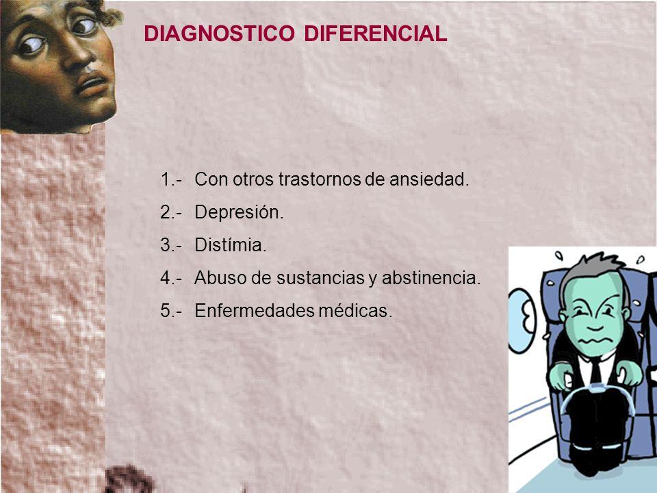 1.-Con otros trastornos de ansiedad. 2.-Depresión. 3.-Distímia. 4.-Abuso de sustancias y abstinencia. 5.-Enfermedades médicas. DIAGNOSTICO DIFERENCIAL