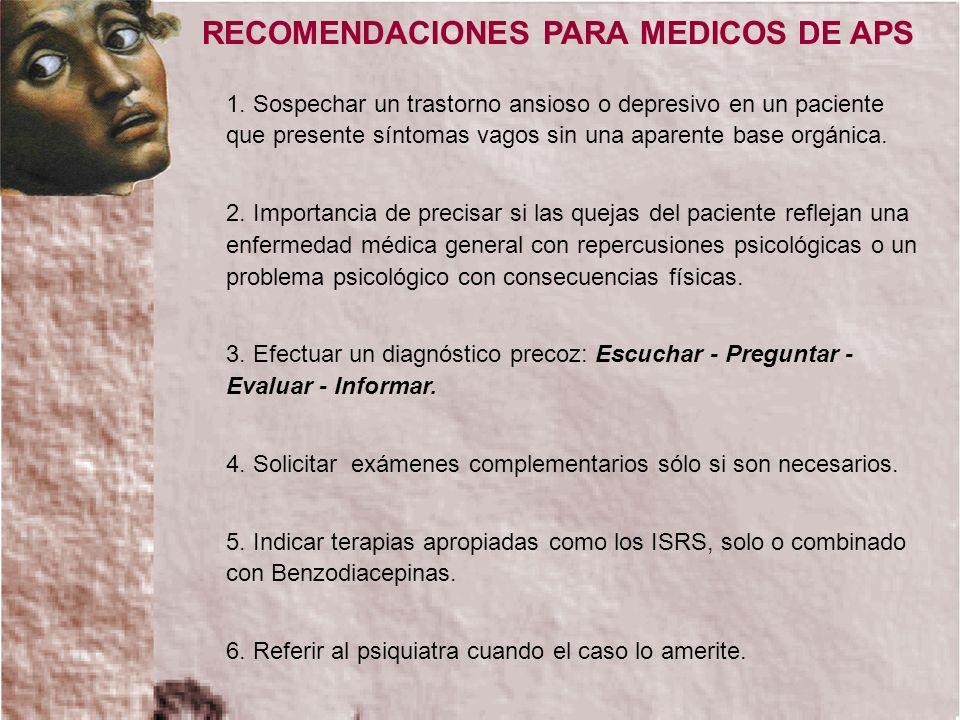 RECOMENDACIONES PARA MEDICOS DE APS 1. Sospechar un trastorno ansioso o depresivo en un paciente que presente síntomas vagos sin una aparente base org