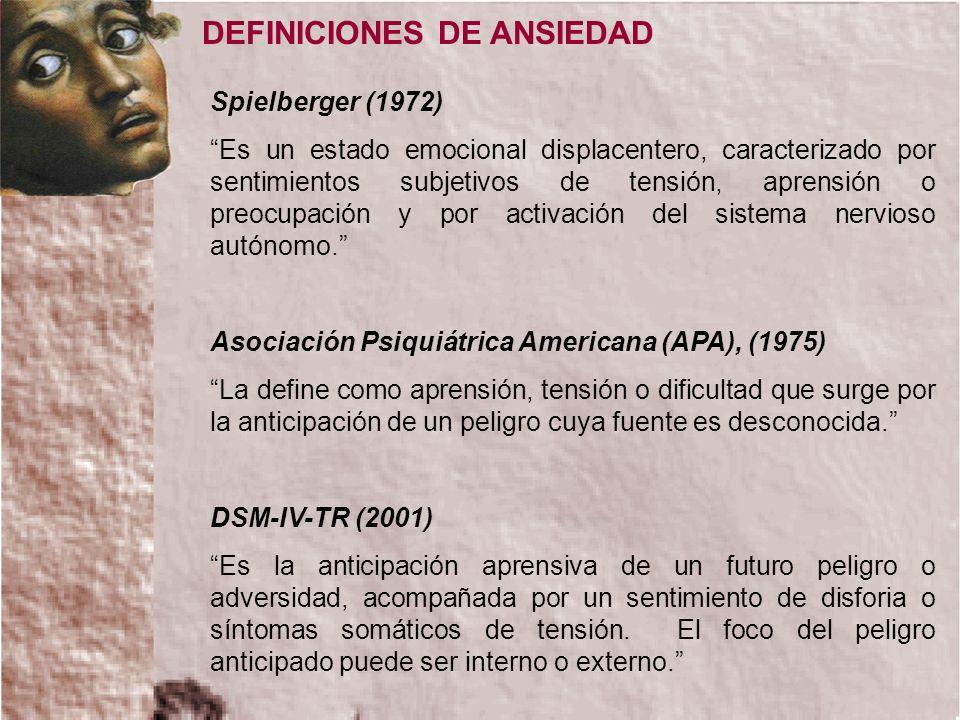 DEFINICIONES DE ANSIEDAD Spielberger (1972) Es un estado emocional displacentero, caracterizado por sentimientos subjetivos de tensión, aprensión o pr