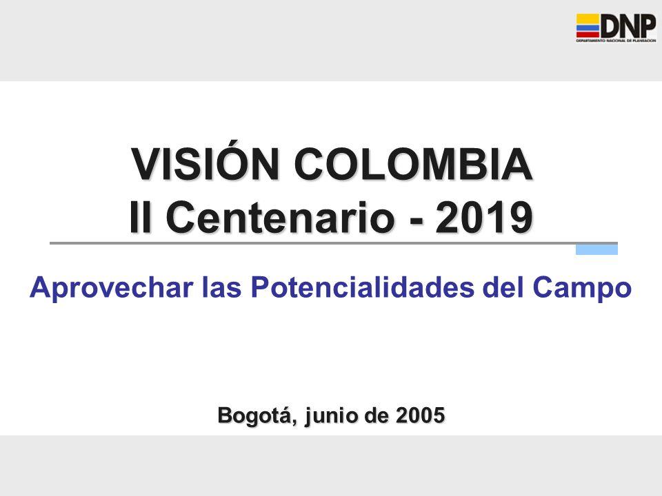 VISIÓN COLOMBIA II Centenario - 2019 Aprovechar las Potencialidades del Campo Bogotá, junio de 2005