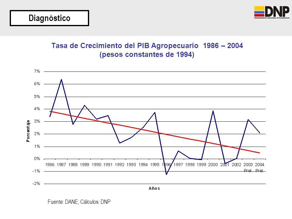Tasa de Crecimiento del PIB Agropecuario 1986 – 2004 (pesos constantes de 1994) Diagnóstico Fuente: DANE; Cálculos: DNP