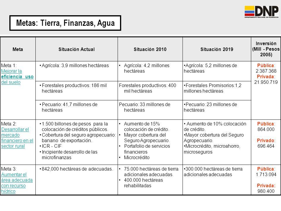 Metas: Tierra, Finanzas, Agua MetaSituación ActualSituación 2010Situación 2019 Inversión (Mill - Pesos 2005) Meta 1: Mejorar la eficiencia uso del sue