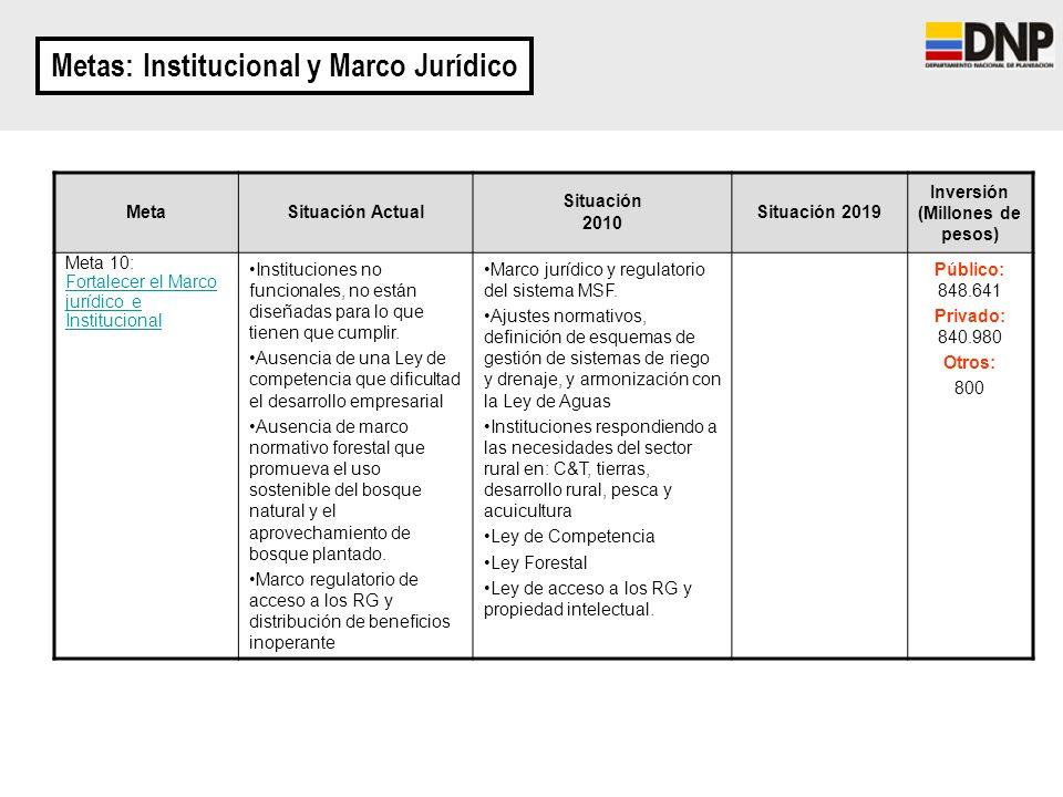 Metas: Institucional y Marco Jurídico MetaSituación Actual Situación 2010 Situación 2019 Inversión (Millones de pesos) Meta 10: Fortalecer el Marco ju