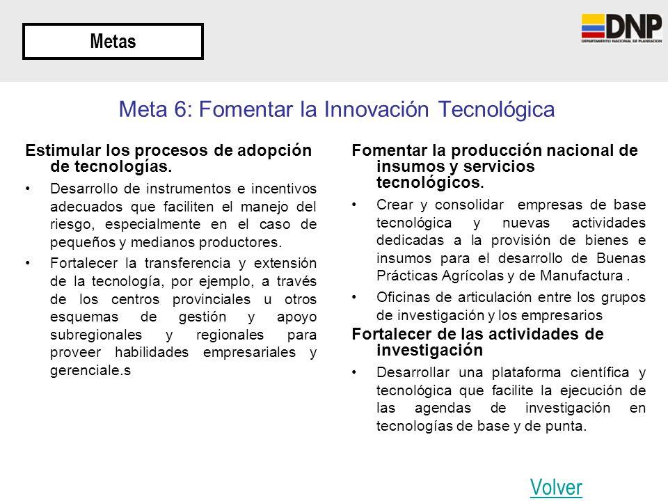 Metas Meta 6: Fomentar la Innovación Tecnológica Estimular los procesos de adopción de tecnologías. Desarrollo de instrumentos e incentivos adecuados