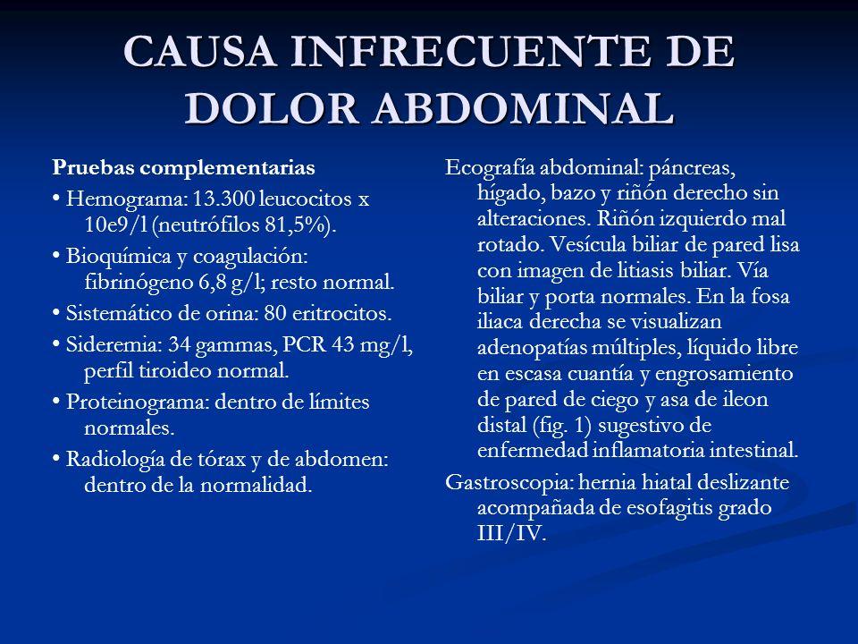 CAUSA INFRECUENTE DE DOLOR ABDOMINAL Pruebas complementarias Hemograma: 13.300 leucocitos x 10e9/l (neutrófilos 81,5%). Bioquímica y coagulación: fibr