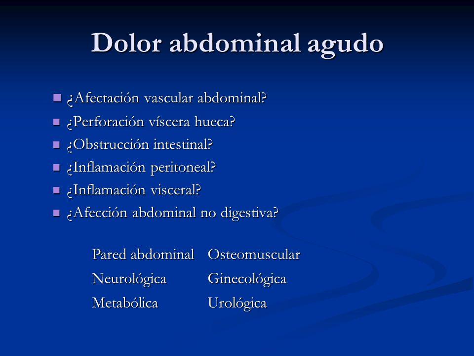 Dolor abdominal agudo ¿ Afectación vascular abdominal? ¿ Afectación vascular abdominal? ¿Perforación víscera hueca? ¿Perforación víscera hueca? ¿Obstr
