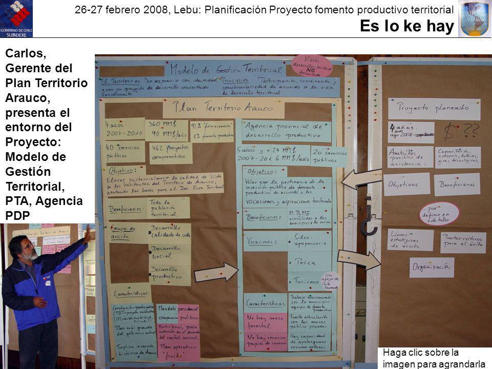 26-27 febrero 2008, Lebu: Planificación Proyecto fomento productivo territorial Es lo ke hay Carlos, Gerente del Plan Territorio Arauco, presenta el entorno del Proyecto: Modelo de Gestión Territorial, PTA, Agencia PDP Haga clic sobre la imagen para agrandarla