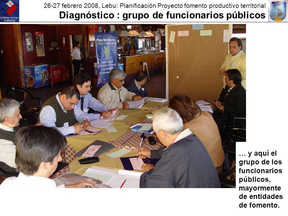 26-27 febrero 2008, Lebu: Planificación Proyecto fomento productivo territorial Diagnóstico : grupo de funcionarios públicos … y aquí el grupo de los funcionarios públicos, mayormente de entidades de fomento.