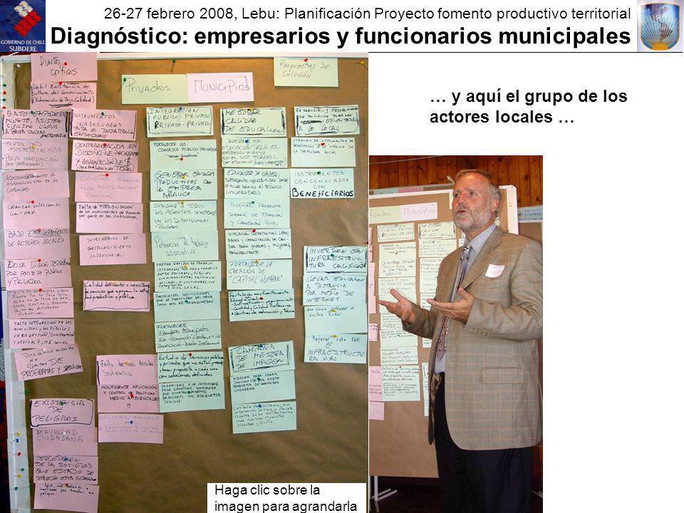 26-27 febrero 2008, Lebu: Planificación Proyecto fomento productivo territorial Diagnóstico: empresarios y funcionarios municipales Haga clic sobre la imagen para agrandarla … y aquí el grupo de los actores locales …