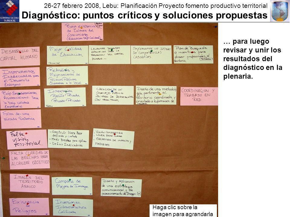 26-27 febrero 2008, Lebu: Planificación Proyecto fomento productivo territorial Diagnóstico: puntos críticos y soluciones propuestas … para luego revisar y unir los resultados del diagnóstico en la plenaria.