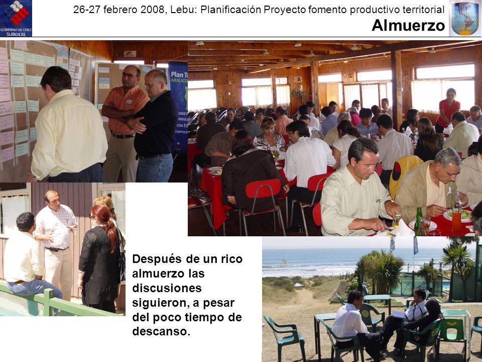 26-27 febrero 2008, Lebu: Planificación Proyecto fomento productivo territorial Almuerzo Después de un rico almuerzo las discusiones siguieron, a pesar del poco tiempo de descanso.