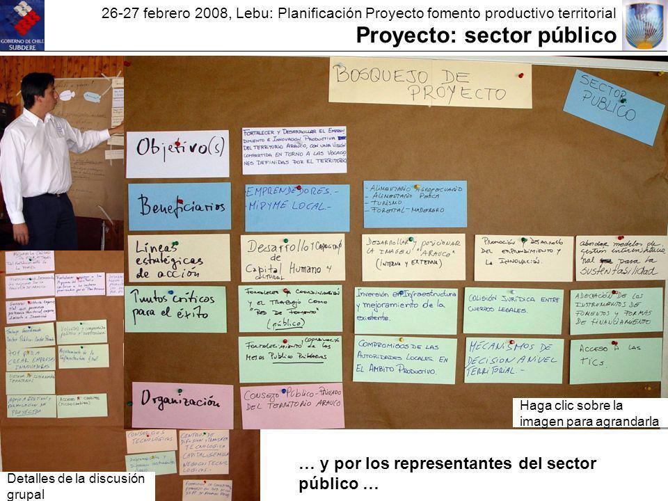 26-27 febrero 2008, Lebu: Planificación Proyecto fomento productivo territorial Proyecto: sector público Haga clic sobre la imagen para agrandarla Detalles de la discusión grupal … y por los representantes del sector público …
