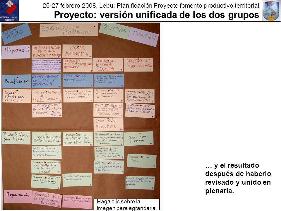 26-27 febrero 2008, Lebu: Planificación Proyecto fomento productivo territorial Proyecto: versión unificada de los dos grupos … y el resultado después de haberlo revisado y unido en plenaria.