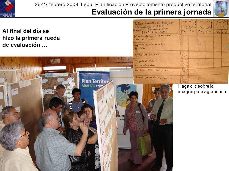 26-27 febrero 2008, Lebu: Planificación Proyecto fomento productivo territorial Evaluación de la primera jornada Al final del día se hizo la primera rueda de evaluación … Haga clic sobre la imagen para agrandarla