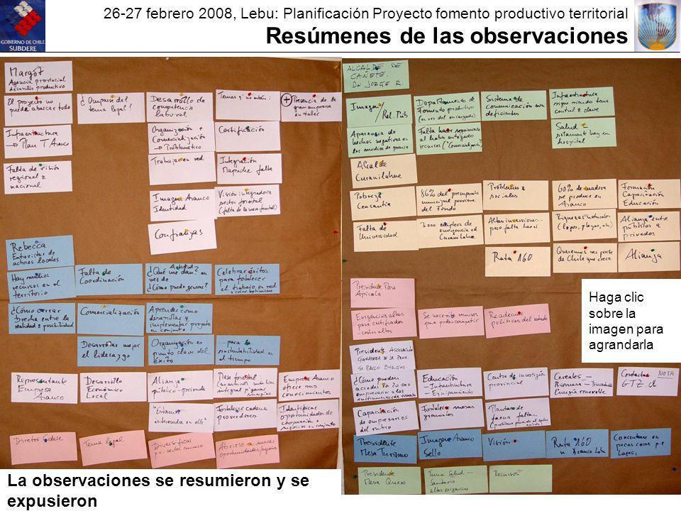 26-27 febrero 2008, Lebu: Planificación Proyecto fomento productivo territorial Resúmenes de las observaciones La observaciones se resumieron y se expusieron Haga clic sobre la imagen para agrandarla