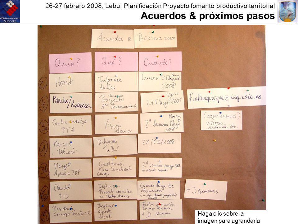 26-27 febrero 2008, Lebu: Planificación Proyecto fomento productivo territorial Acuerdos & próximos pasos Haga clic sobre la imagen para agrandarla