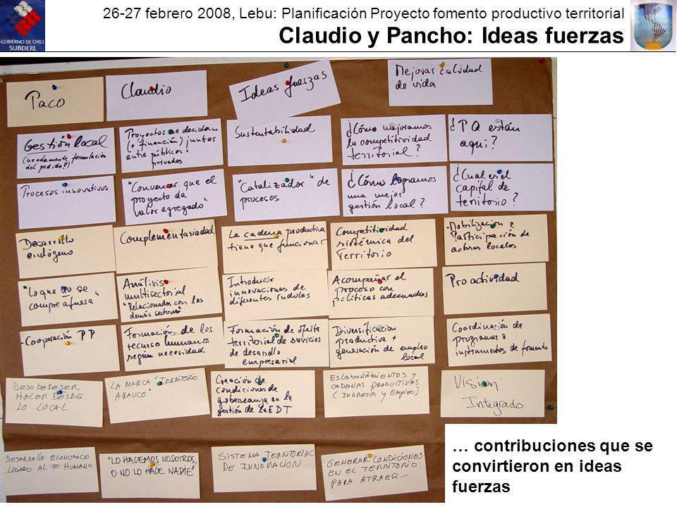 26-27 febrero 2008, Lebu: Planificación Proyecto fomento productivo territorial Claudio y Pancho: Ideas fuerzas … contribuciones que se convirtieron en ideas fuerzas