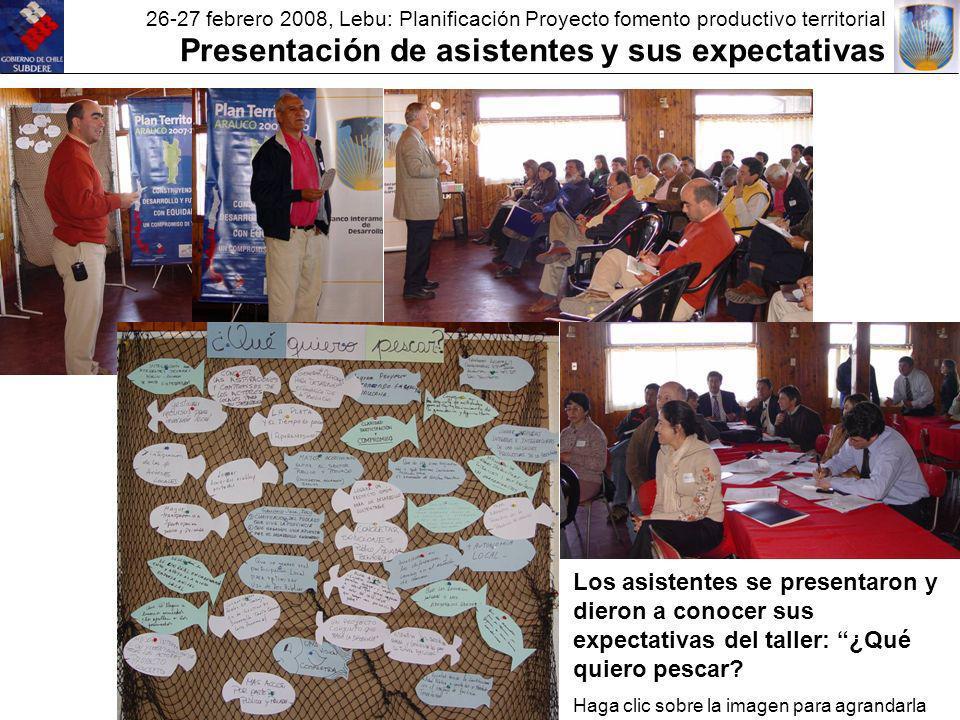 26-27 febrero 2008, Lebu: Planificación Proyecto fomento productivo territorial Presentación de asistentes y sus expectativas Los asistentes se presentaron y dieron a conocer sus expectativas del taller: ¿Qué quiero pescar.