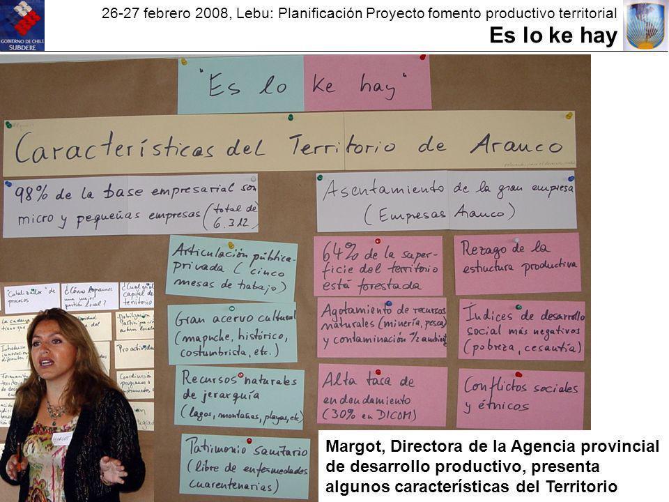 26-27 febrero 2008, Lebu: Planificación Proyecto fomento productivo territorial Es lo ke hay Margot, Directora de la Agencia provincial de desarrollo productivo, presenta algunos características del Territorio
