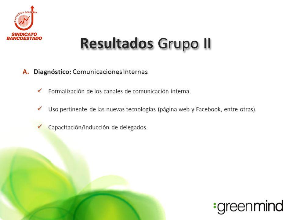 Resultados Grupo II A.Diagnóstico: Comunicaciones Internas Formalización de los canales de comunicación interna.