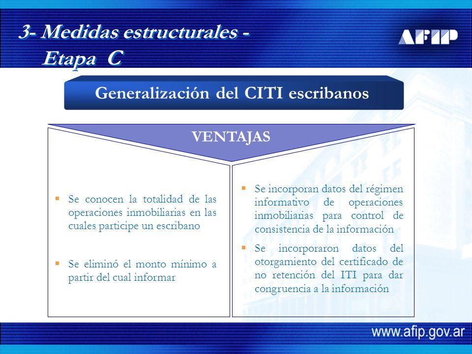 VENTAJAS Se conocen la totalidad de las operaciones inmobiliarias en las cuales participe un escribano Se eliminó el monto mínimo a partir del cual informar Se incorporan datos del régimen informativo de operaciones inmobiliarias para control de consistencia de la información Se incorporaron datos del otorgamiento del certificado de no retención del ITI para dar congruencia a la información 3- Medidas estructurales - Etapa C Generalización del CITI escribanos
