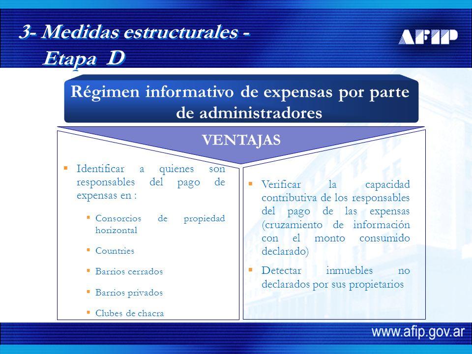 VENTAJAS Identificar a quienes son responsables del pago de expensas en : Consorcios de propiedad horizontal Countries Barrios cerrados Barrios privad