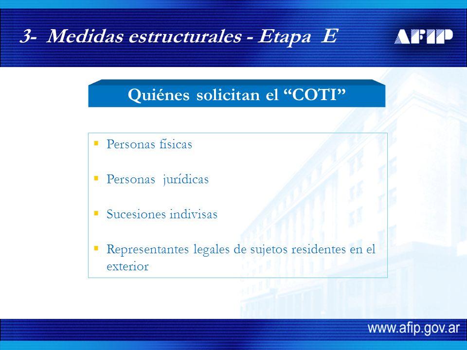 3- Medidas estructurales - Etapa E Personas físicas Personas jurídicas Sucesiones indivisas Representantes legales de sujetos residentes en el exterior Quiénes solicitan el COTI
