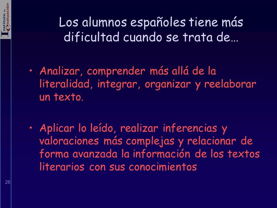 26 Los alumnos españoles tiene más dificultad cuando se trata de… Analizar, comprender más allá de la literalidad, integrar, organizar y reelaborar un