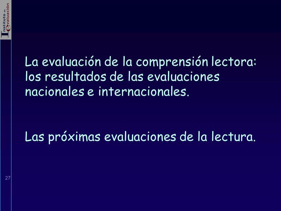 27 La evaluación de la comprensión lectora: los resultados de las evaluaciones nacionales e internacionales. Las próximas evaluaciones de la lectura.