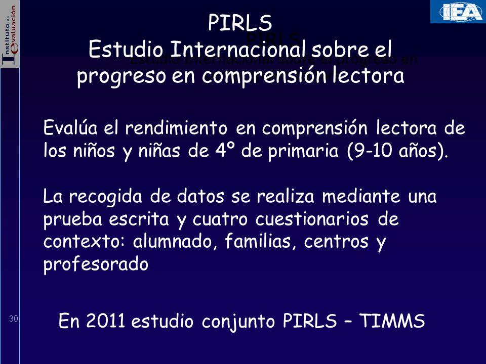 30 PIRLS Estudio Internacional sobre el progreso en comprensión lectora Evalúa el rendimiento en comprensión lectora de los niños y niñas de 4º de pri
