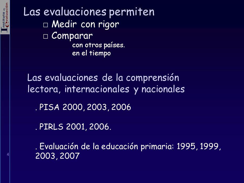 4 Las evaluaciones permiten Medir con rigor Comparar con otros países. en el tiempo. PISA 2000, 2003, 2006. PIRLS 2001, 2006.. Evaluación de la educac
