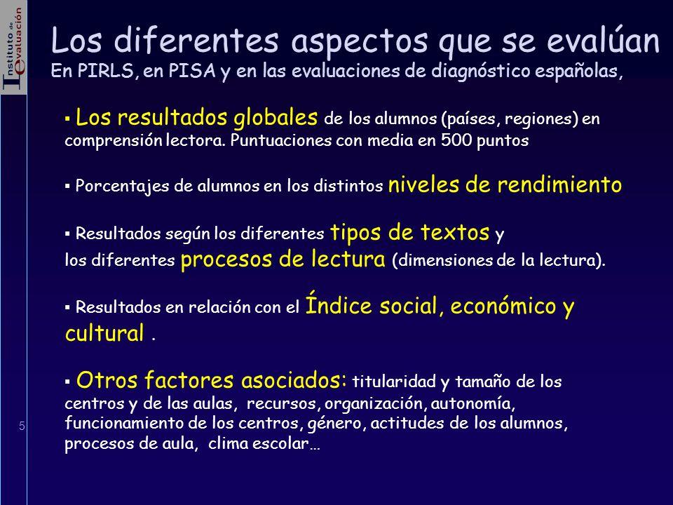 5 Los diferentes aspectos que se evalúan En PIRLS, en PISA y en las evaluaciones de diagnóstico españolas, Los resultados globales de los alumnos (paí