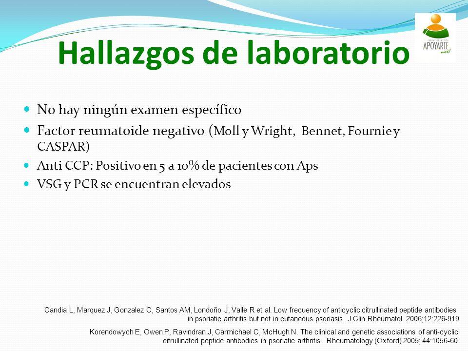 Hallazgos de laboratorio No hay ningún examen específico Factor reumatoide negativo ( Moll y Wright, Bennet, Fournie y CASPAR) Anti CCP: Positivo en 5 a 10% de pacientes con Aps VSG y PCR se encuentran elevados Candia L, Marquez J, Gonzalez C, Santos AM, Londoño J, Valle R et al.