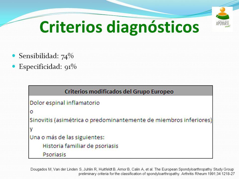Criterios diagnósticos Sensibilidad: 74% Especificidad: 91% Dougados M, Van der Linden S, Juhlin R, Huitfeldt B, Amor B, Calin A, et al.