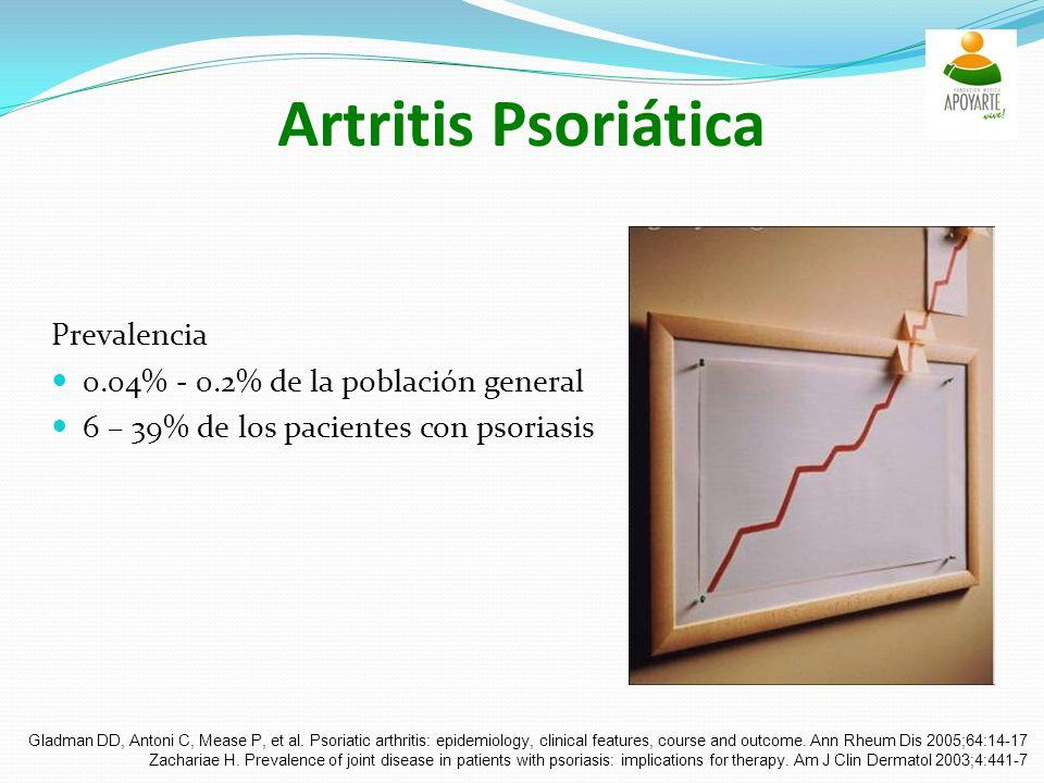 Artritis Psoriática Prevalencia 0.04% - 0.2% de la población general 6 – 39% de los pacientes con psoriasis Gladman DD, Antoni C, Mease P, et al.