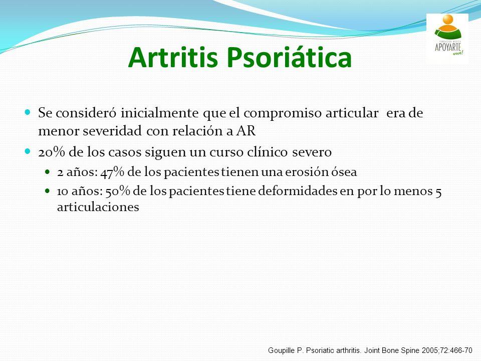 Artritis Psoriática Se consideró inicialmente que el compromiso articular era de menor severidad con relación a AR 20% de los casos siguen un curso clínico severo 2 años: 47% de los pacientes tienen una erosión ósea 10 años: 50% de los pacientes tiene deformidades en por lo menos 5 articulaciones Goupille P.