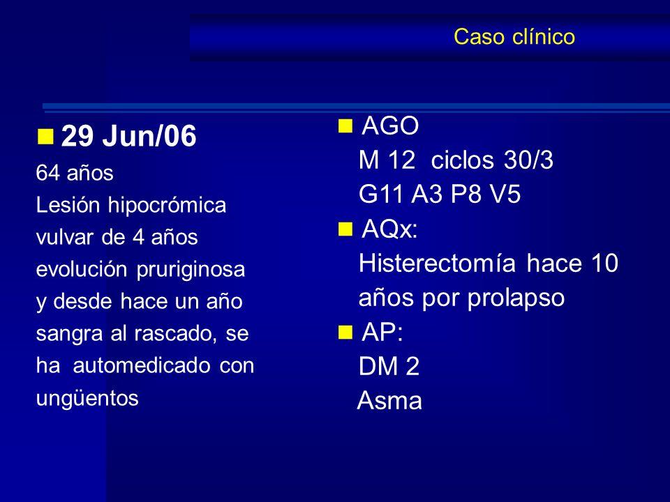 29 Jun/06 64 años Lesión hipocrómica vulvar de 4 años evolución pruriginosa y desde hace un año sangra al rascado, se ha automedicado con ungüentos Ca