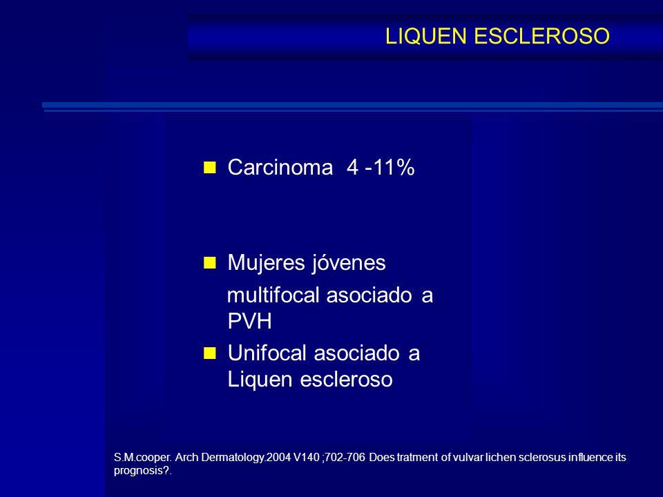 Carcinoma 4 -11% Mujeres jóvenes multifocal asociado a PVH Unifocal asociado a Liquen escleroso LIQUEN ESCLEROSO S.M.cooper. Arch Dermatology.2004 V14