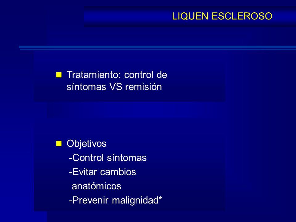 LIQUEN ESCLEROSO Tratamiento: control de síntomas VS remisión Objetivos -Control síntomas -Evitar cambios anatómicos -Prevenir malignidad*