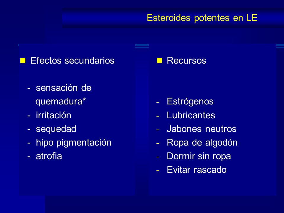 Efectos secundarios - sensación de quemadura* - irritación - sequedad - hipo pigmentación - atrofia Esteroides potentes en LE Recursos - Estrógenos -