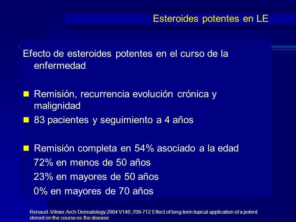 Efecto de esteroides potentes en el curso de la enfermedad Remisión, recurrencia evolución crónica y malignidad 83 pacientes y seguimiento a 4 años Re