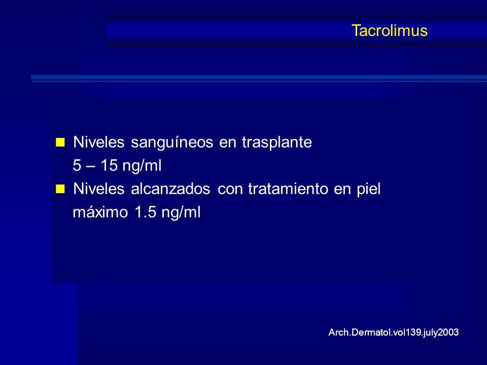 Niveles sanguíneos en trasplante 5 – 15 ng/ml Niveles alcanzados con tratamiento en piel máximo 1.5 ng/ml Tacrolimus Arch.Dermatol.vol139.july2003