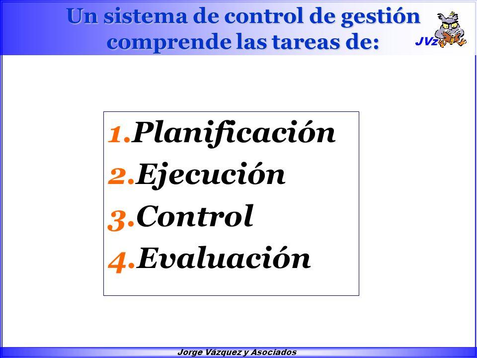 Jorge Vázquez y Asociados Un sistema de control de gestión comprende las tareas de: 1.Planificación 2.Ejecución 3.Control 4.Evaluación