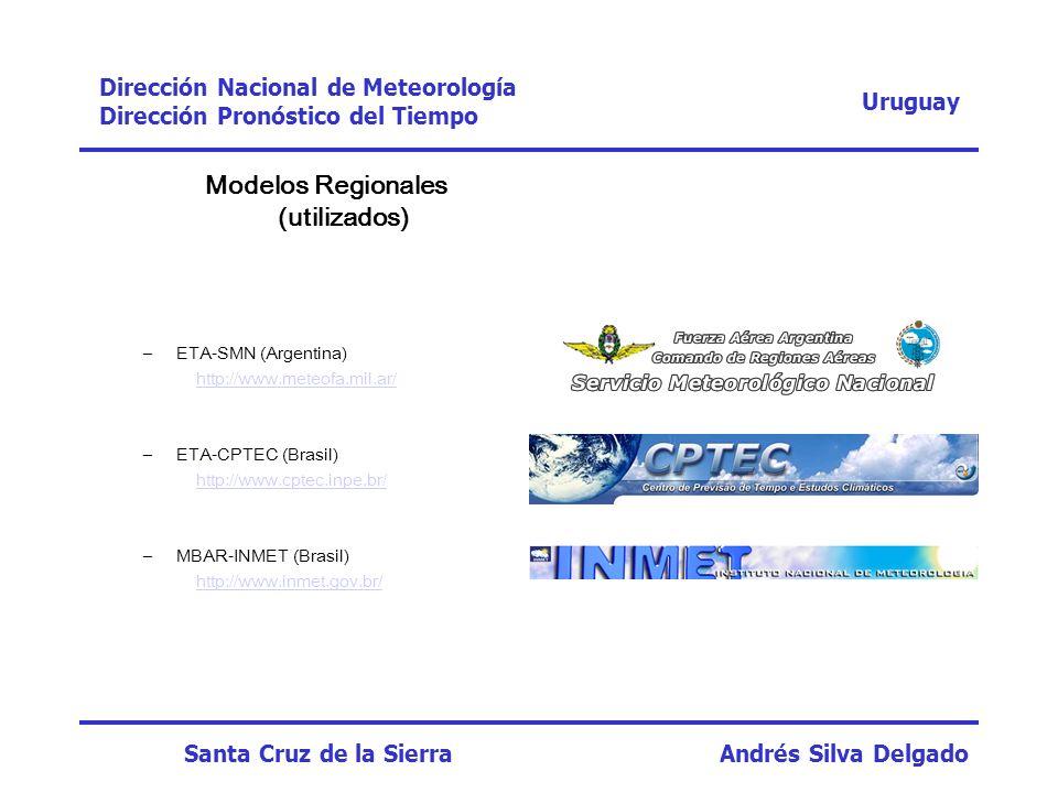 Modelos Regionales (utilizados) –ETA-SMN (Argentina) http://www.meteofa.mil.ar/ –ETA-CPTEC (Brasil) http://www.cptec.inpe.br/ –MBAR-INMET (Brasil) htt