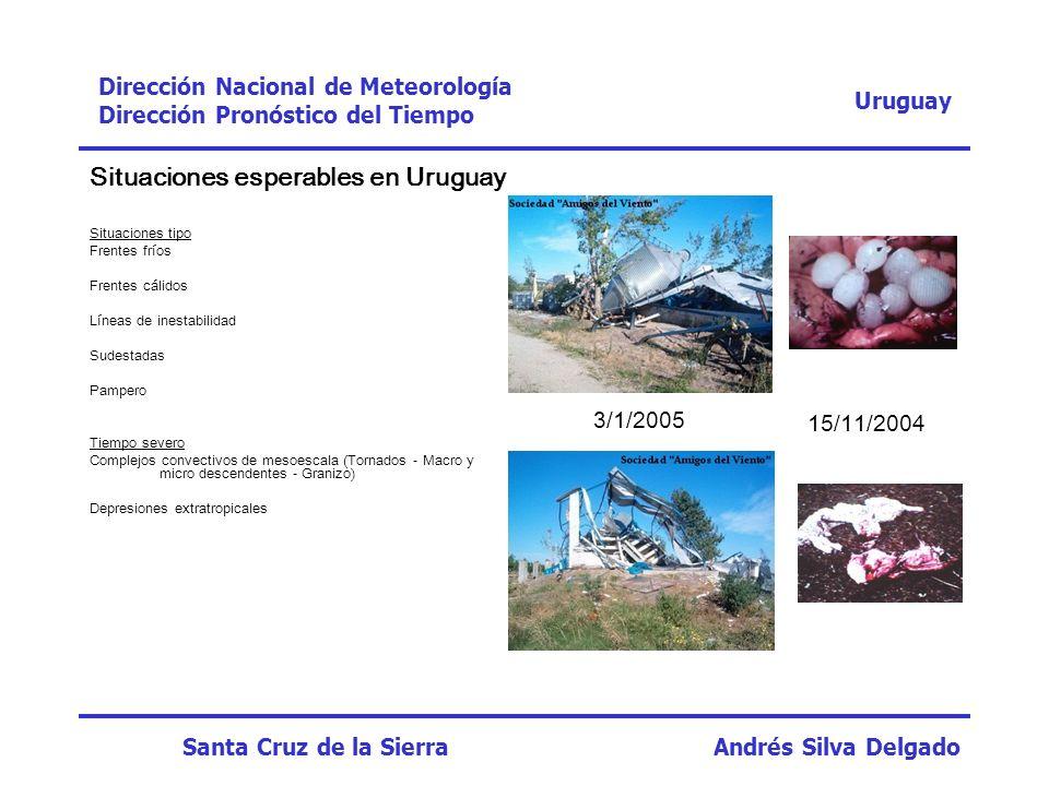 Situaciones esperables en Uruguay Situaciones tipo Frentes fríos Frentes cálidos Líneas de inestabilidad Sudestadas Pampero Tiempo severo Complejos co