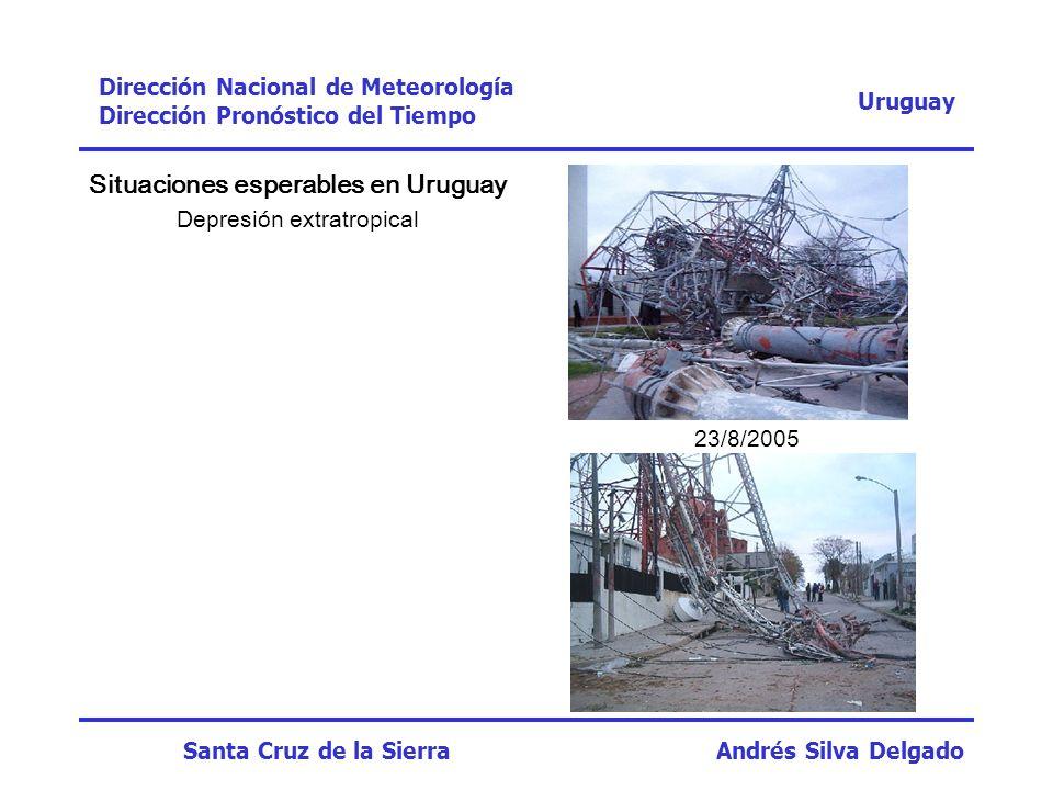 Situaciones esperables en Uruguay Depresión extratropical Uruguay Dirección Nacional de Meteorología Dirección Pronóstico del Tiempo Santa Cruz de la