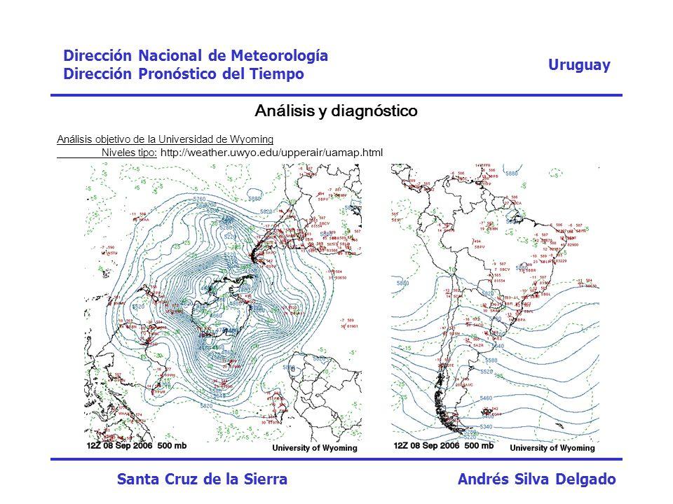 Uruguay Dirección Nacional de Meteorología Dirección Pronóstico del Tiempo Santa Cruz de la Sierra Andrés Silva Delgado FechaHoraRegistroWRF 23/09/0500:000,00 06:000,00 12:000,03,4 18:000,015,1 24/09/0500:0035,030,4 06:000,00 12:000,00 18:000,00,5 Prec.