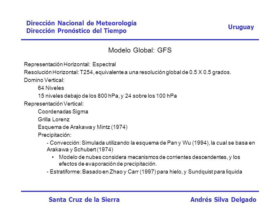 Uruguay Dirección Nacional de Meteorología Dirección Pronóstico del Tiempo Santa Cruz de la Sierra Andrés Silva Delgado FechaHoraRegistroWRF 23/09/0500:000,00 06:000,00 12:000,00 18:000,01,9 24/09/0500:000,021,5 06:0024,00,07 12:000,00,03 18:000,03,64 Prec.